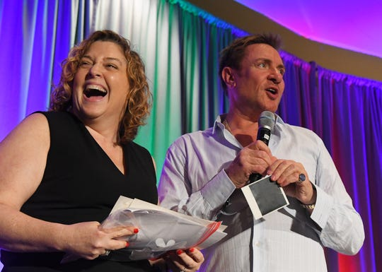 Nicki Hensley of Viera was called on stage to show Simon photos from a 1987 concert in New York City where she got to meet him. Simon Le Bon, lead singer of the British music group Duran Duran, was the special luncheon guest at the 2019 Cultural Summit, presented by Brevard Cultural Alliance, at the Hilton Melbourne Rialto Place. Le Bon joined Greg Pallone of Spectrum News 13, for a conversation, followed by an audience Q & A.