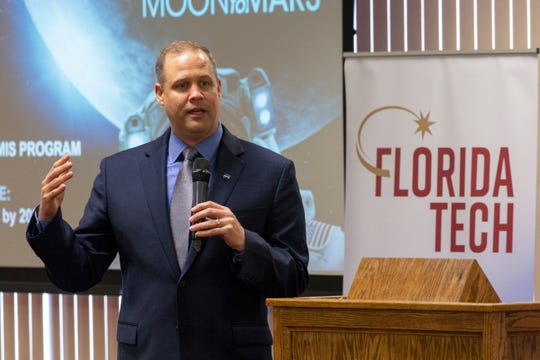 NASA Administrator Jim Bridenstine speaks at the Florida Institute of Technology in Melbourne on the agency's moon plans on Thursday, May 23, 2019.