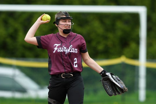 BFA's Alex Blair (2) throws the ball to first during warm ups in the softball game between Milton vs. BFA-Fairfax on Thursday afternoon May 23, 2019 in Fairfax, Vermont.