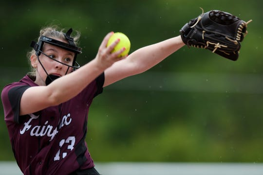 BFA's Taylor Mitchell (13) delivers a pitch during the softball game between Milton vs. BFA-Fairfax on Thursday afternoon May 23, 2019 in Fairfax, Vermont.