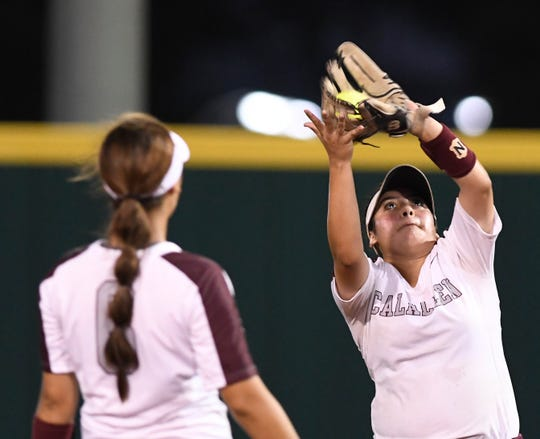 Calallen's Avianna Gonzalez catches the ball during the top of the fifth inning during the game against Flour Bluff, Wednesday, May 22, 2019, at Cabaniss Softball Field.