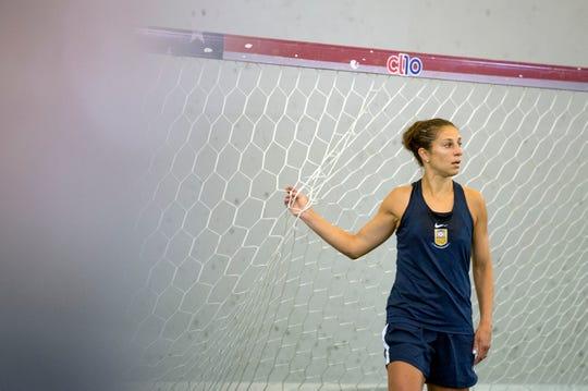 Carli Lloyd practices inside Fulcrum Sportsplex in Southampton, N.J. Thursday, May 23, 2019.