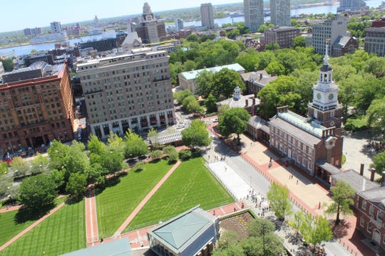 Aerial view  of newly renovated Independence Mall in Philadelphia by BrightView Landscape Services of Blue Bell, Pa.