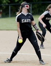 Lakota East pitcher Sydney Larson delivers to Mason during their Division I regional semifinal softball game at Centerville Wednesday, May 22, 2019.