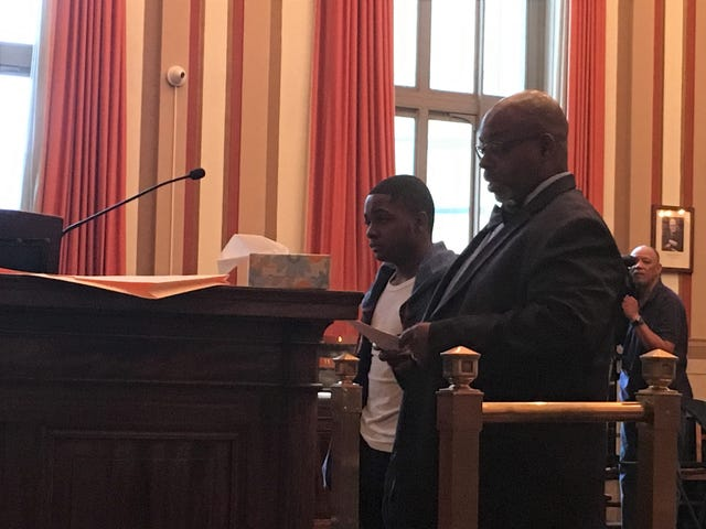 Jeremiah Horton, at left, stands next to his attorney, Carl Lewis, during his sentencing Thursday, May 23, 2019 in Hamilton County Common Pleas Court.