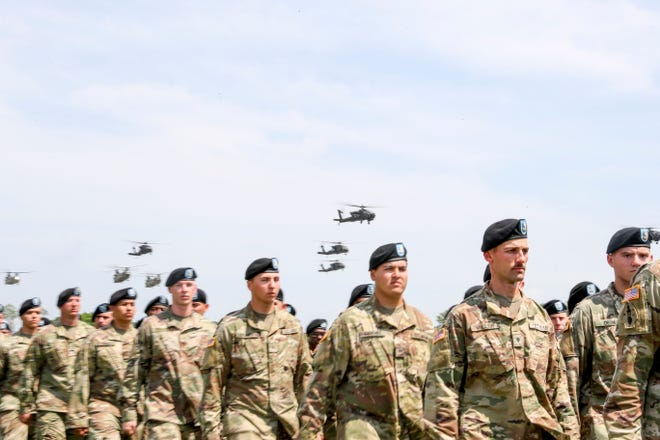 Nearly 15,000 soldiers from the 101st Airborne Division gather with their units for a review following the Week of the Eagles at Parade Field in Fort Campbell on May 23, 2019.