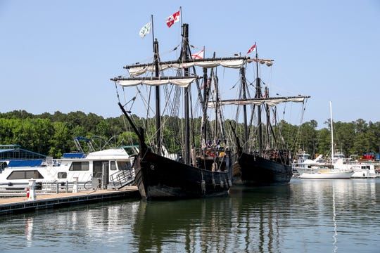 The Nina and Pinta ships can be seen at their docking location at Paris Landing State Park in Buchanan, Tenn., on Wednesday, May 22, 2019.