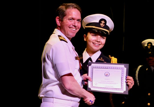 Linden High School NJROTC Female Cadet of the Year Gladylise Mendez, with Commander Boyd Decker, U.S. Navy retired, who is senior Naval Science instructor at LHS