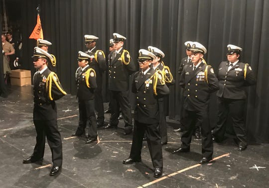The new regimental staff, led by Commanding Officer Cadet Capt. Mario Rodriguez at front, will lead the Linden High School NJROTC through the 2019-20 school year.