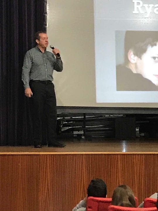John Halligan, who son committed suicide in 2003, spoke with Lincoln Middle School students.