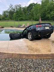 A Chevrolet Camaro was driven into a swimming pool at a Readington Township home early Thursday.