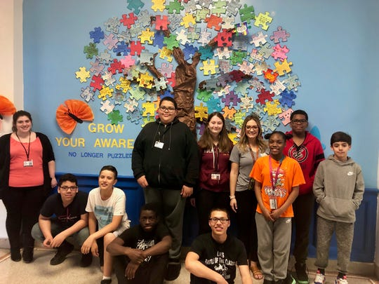 Students at Soehl Middle School created an Autism Awareness Tree in the front lobby of the school to help raise understanding.
