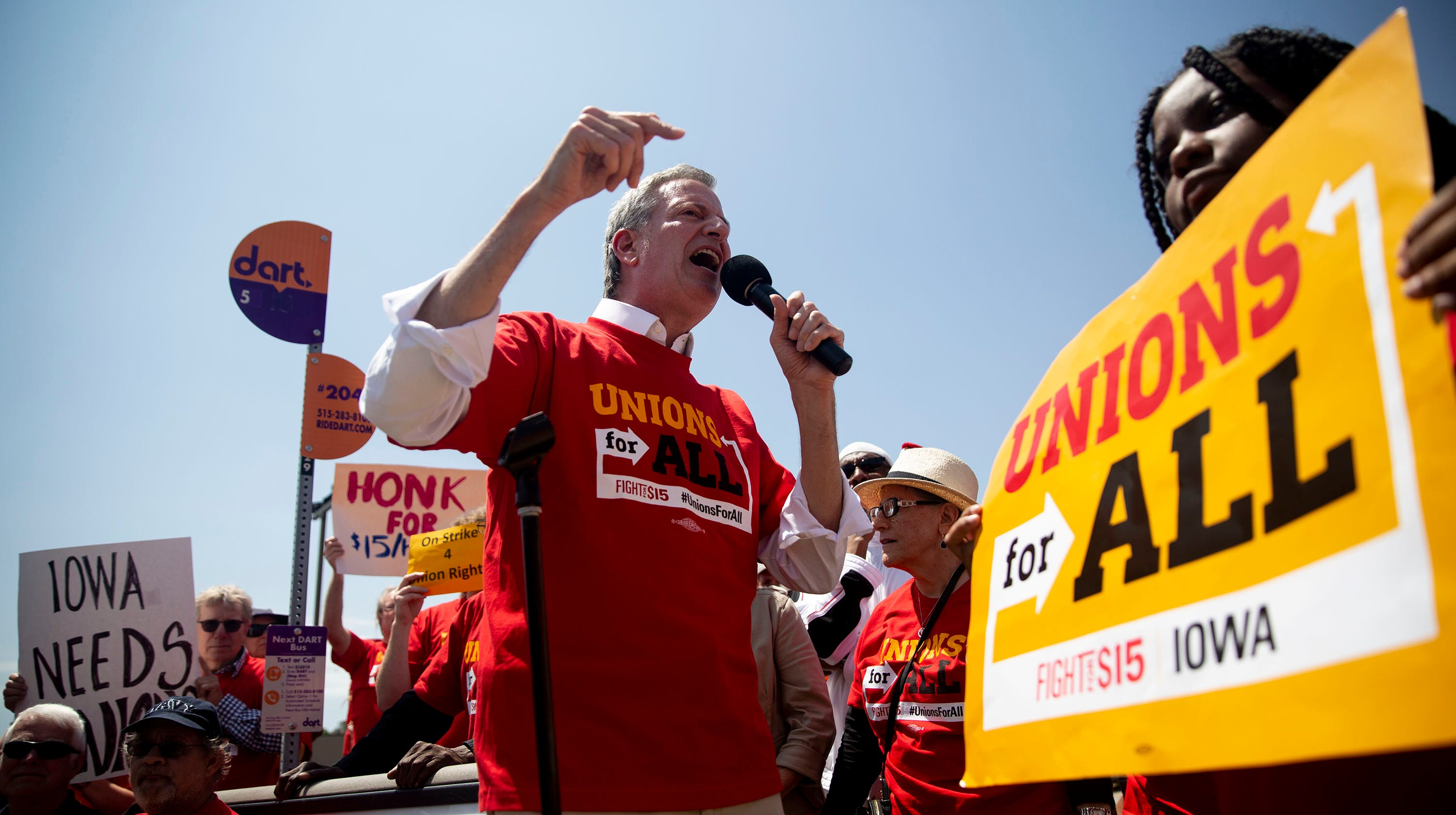 Bill de Blasio, Mayor of New York City, speaks to the crowd gathered outside of the McDonald's on Merle Hay Road on Thursday, May 23, 2019, rallying for a $15 minimum wage, in Des Moines. Fight for 15 protests were held across the country today.