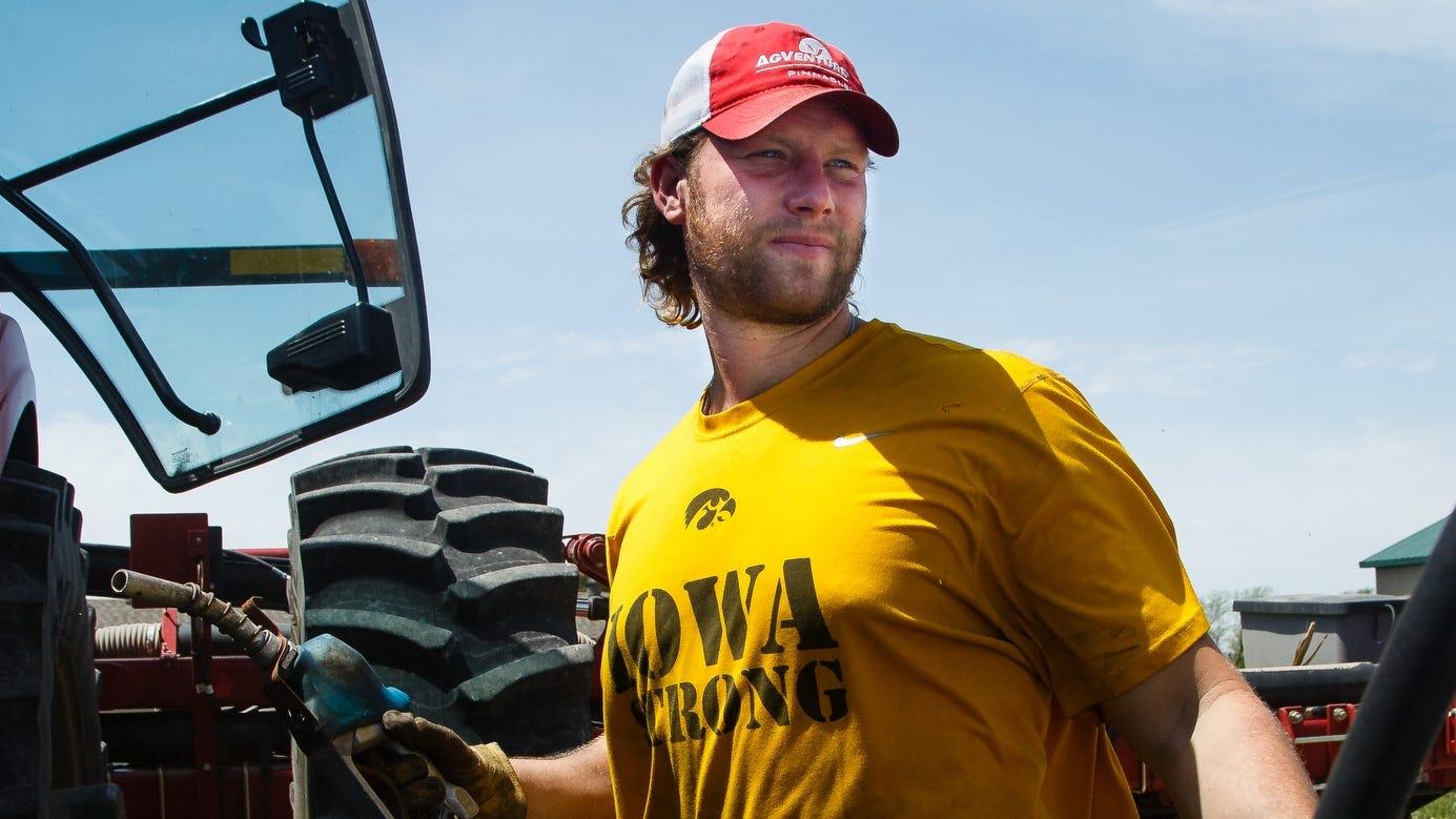 Former Iowa defensive end Drew Ott on his family farm outside Trumbull, Nebraska.