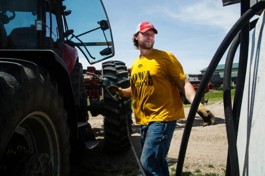 Former Iowa defensive end Drew Ott on his family farm outside Trumbull, Nebraska.