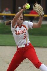 Carlisle junior Molly Hoekstra pitches against Indianola.