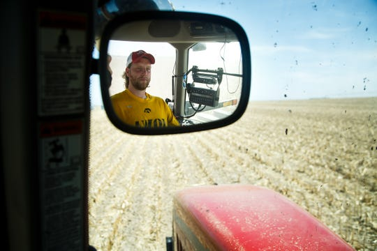 Drew Ott plants corn on his family's 1,650 acres in Trumbull, Nebraska.