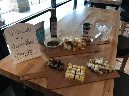 Look for samples of baked goods during the day and and cheeses, dips and deli cuts at night in the market side of Urban Cellar in West Des Moines.