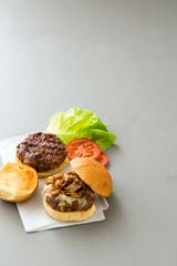 Grilled Bacon Burgers with Caramelized Onions and Blue Cheese