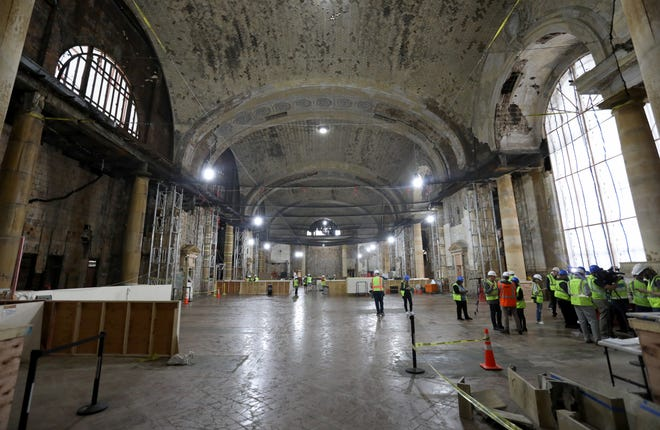 A wide view of the grand entryway under renovation at the Michigan Central Station on Thursday, May 23, 2019.