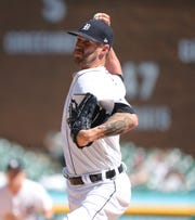 Detroit Tigers reliever Shane Greene pitches against the Miami Marlins during the ninth inning Thursday, May 23, 2019  at Comerica Park.