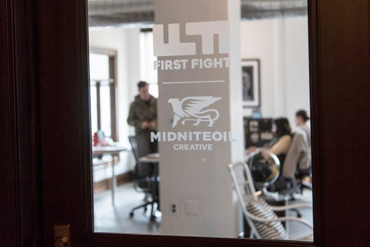 Shared office space of First Fight and Midniteoil in downtown Detroit, Thursday, May 9, 2019.