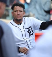 Detroit Tigers DH Miguel Cabrera in the dugout during action against the Miami Marlins, Wednesday, May 22, 2019 at Comerica Park.