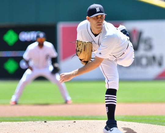 Tigers pitcher Matthew Boyd works in the first inning against the Marlins.