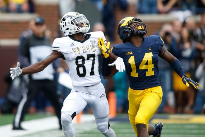 Wide receiver Jayden Reed (87) transferred from Western Michigan to Michigan State last year.