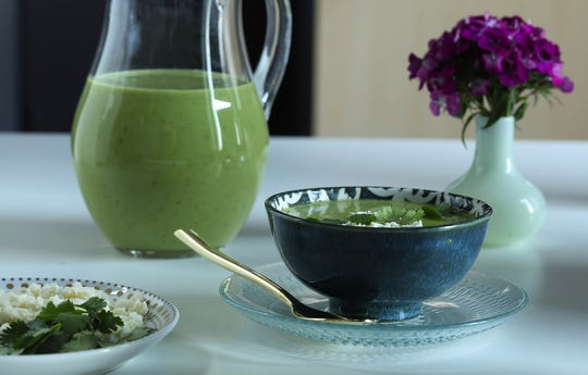 Spring pea and poblano soup can be served hot or cold. (Abel Uribe/Chicago Tribune/TNS)