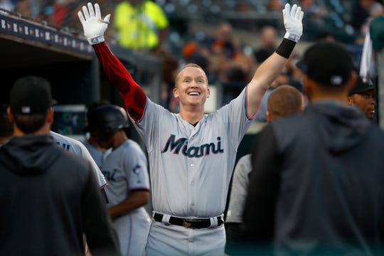 Miami Marlins' Garrett Cooper celebrates his solo home run during the sixth inning.