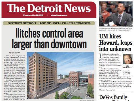 The front page of The Detroit News, Thursday, May 23, 2019.