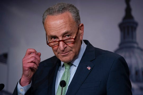 Senate Minority Leader Chuck Schumer, D-N.Y., talks to reporters just after the Senate passed a $19 billion disaster aid bill to help a number of states and Puerto Rico recover after a series of hurricanes, floods and wildfires, at the Capitol in Washington, Thursday, May 23, 2019.