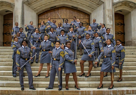 Black female cadets with the Class of 2019 pose at the U.S. Military Academy in West Point, N.Y.  The cadets say they're proud to be part of a milestone at the historic academy after four years of testing their limits.