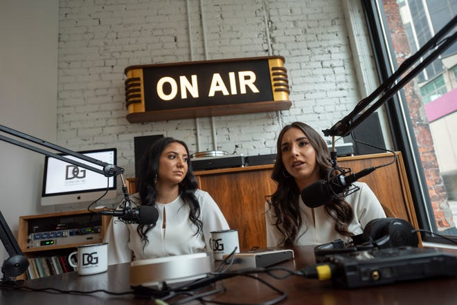 Rima Fadlallah, left, and Yasmeen Kadouh talk about their new podcast show called Dearborn Girl, at the Foundation Hotel studio, in Detroit, May 17, 2019.