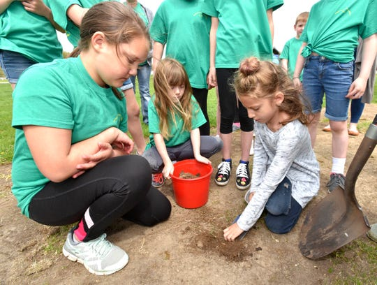 Fifth grader Layla Zepp, left, 11, first grader Olivia Lombard, 6, and fourth grader Anakyn Padilla, 9, all of Holly, collect dirt samples in the school garden at Patterson Elementary in Holly.