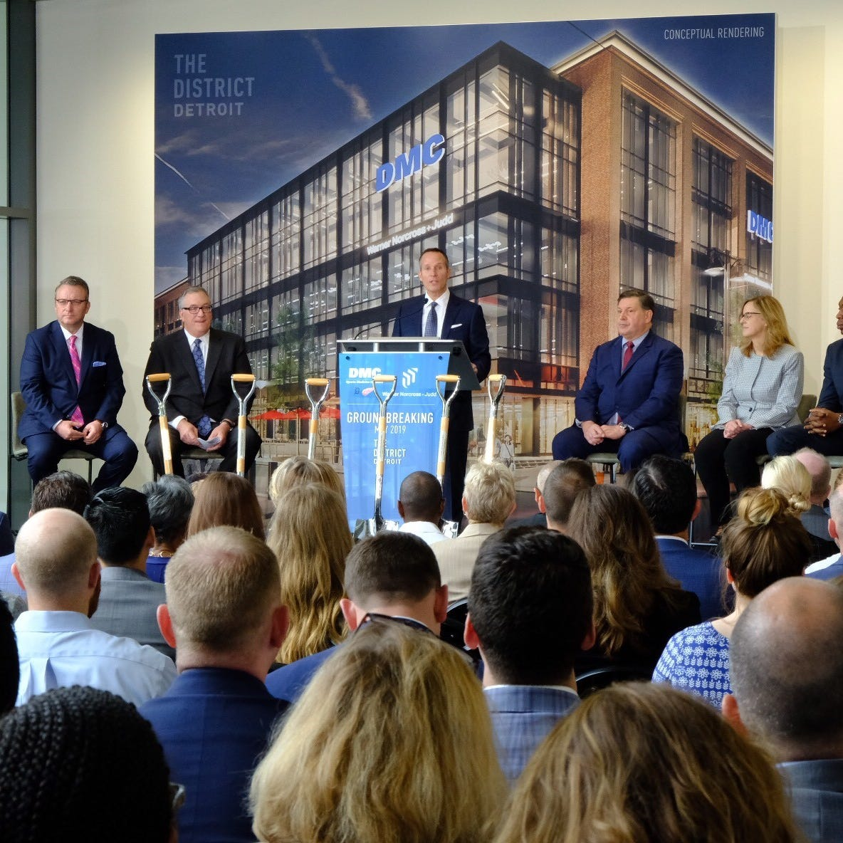 Ilitch, DMC break ground on Woodward medical institute, law office