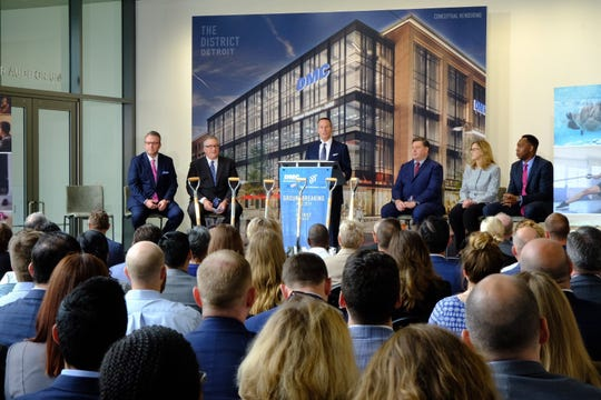 """Chris Ilitch said the new building """"truly represents the progress of District Detroit"""" during the groundbreaking at the Mike Ilitch School of Business Thursday, May 23."""