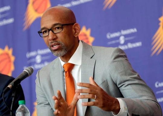 New Phoenix Suns head coach Monty Williams speaks during a news conference Tuesday.