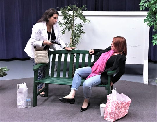 "Ann Gerould, left, and Melissa Norton rehearse a scene from ""Women's Voices,"" which will be presented June 2 at the Elmira Psychiatric Center."