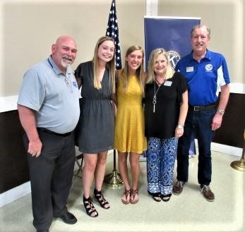 Key Club Adviser Joe Webb,left to right, and scholarship recipients Madison Bannister and Lakotah Cagle visited Kiwanis. At right are Kiwanis president Beth Rice and secretary Kim Huffman.