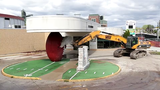 The giant football outside the former Green Bay Packers Hall of Fame on Lombardi Avenue was demolished on Thursday, May 23, 2019.