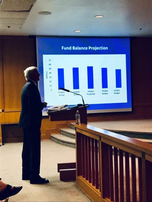 Greenville County Administrator Joe Kernell presents the county's next two-year budget at a council committee meeting Tuesday afternoon, May 21, 2019.