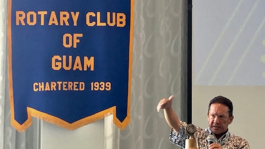 "Guam Visitors Bureau Board Chairman Peter ""Sonny"" Ada gestures as he addresses members of the Rotary Club of Guam on May 23, 2019 about ongoing efforts to boost and diversify tourism arrivals."