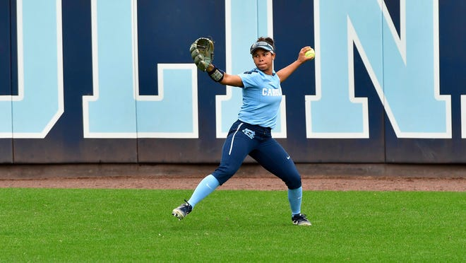 North Carolina's Kiani Ramsey gets ready to fire a laser from centerfield during a NCAA Division 1 game recently. The star player has Guam roots, and will conduct a free softball clinic from 1-5 p.m. May 26 at Guam High School.