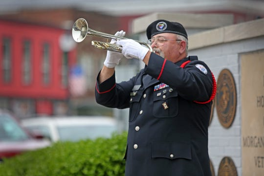 "Bruce McKee plays loss at Morgan County Courthouse Square in Martinsville Friday May 10, 2019. Bruce McKee plays Taps on the Morgan County Courthouse Square in Martinsville on Friday, May 10, 2019. are the hardest 24 notes to play because you play it for the fallen and their families, ""McKee <meta itemprop="