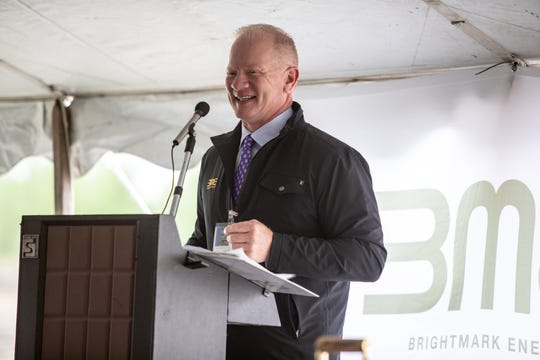 Brightmark Energy CEO Bob Powell speaks at the groundbreaking ceremony for the company's new chemical recycling facility in Ashley, Ind. on Wednesday, May 22, 2019. This plant will be the first of its kind in the U.S. and will turn plastic waste -- such as bags, bottles and toys -- into diesel fuel and industrial wax. The plant is expected to open in 2021.