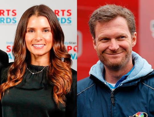 Danica Patrick and Dale Earnhardt Jr., both part of NBC's announcing team for the 2019 Indianapolis 500.
