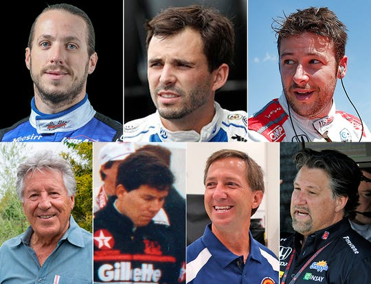 Top row, Andrettis active in racing: Adam (from left), Jarett and Marco. Bottom row, Andrettis who previously raced at Indianapolis Motor Speedway: Mario (from left), Jeff, John and Michael.