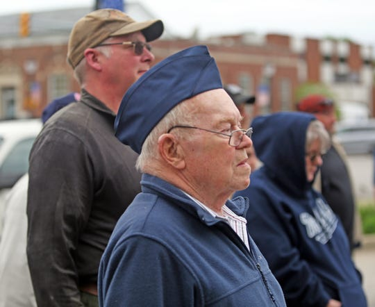 Fred Manley of Martinsville listens to the reading of The names of the Morgan County Courthouse Square in Martinsville Friday May 10, 2019. Manley served in the Air Force during the Cuban missile crisis.